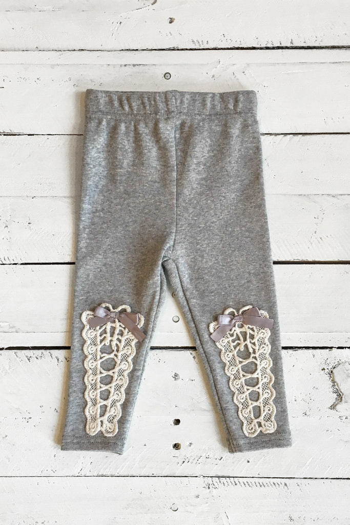 Heather Grey Crochet And Satin Bow Accent Leggings