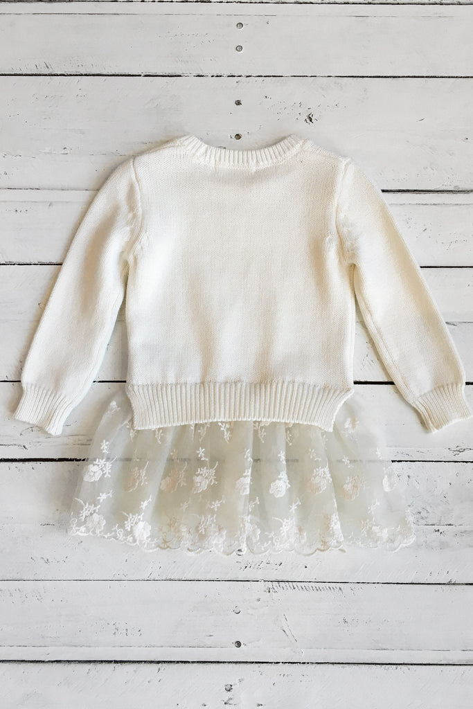 Long Sleeve Floral Lace Trimmed Hemline Knit Sweater