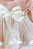 Blush Long Sleeve Satin Bow Tulle Skirt Onesie