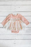 Dusty Pink Long Sleeve Button Lap Neck Onesie