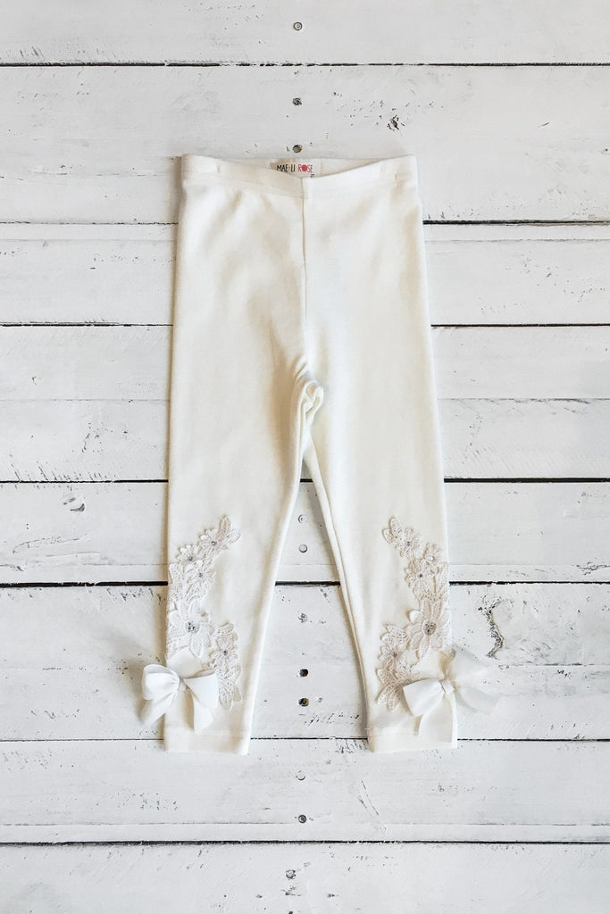 Elastic Waist Crochet Accent Bow And Rhinestones Leggings