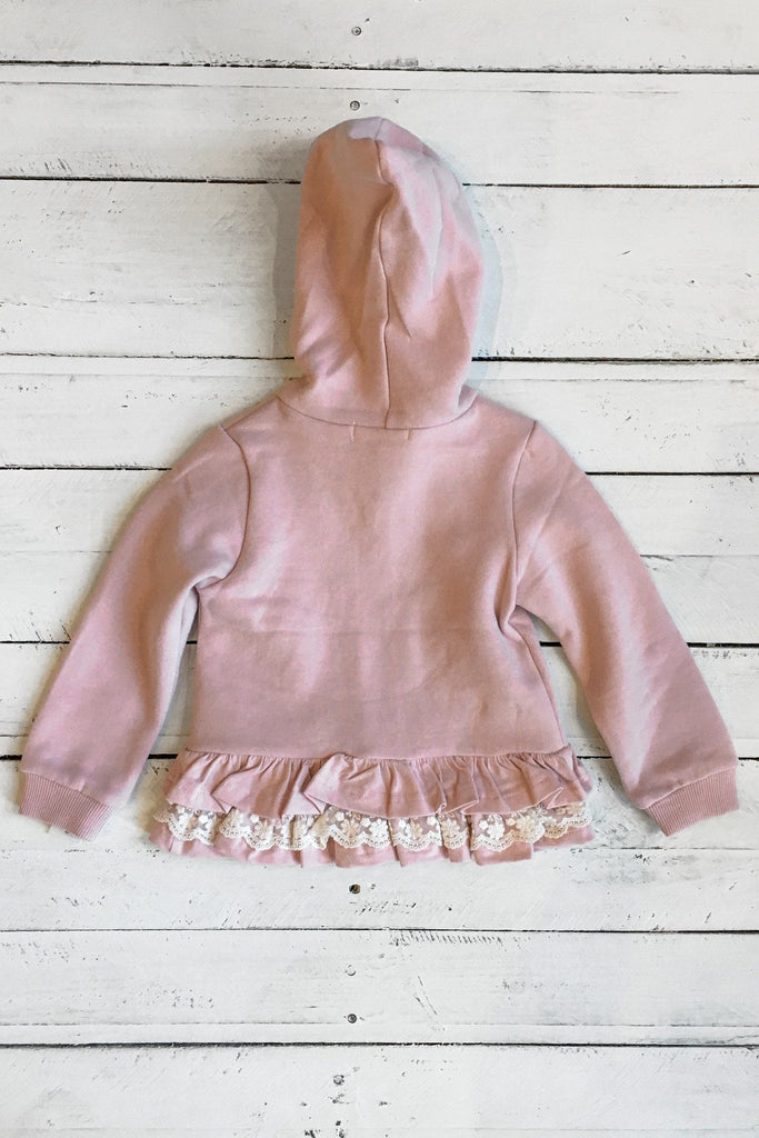 Blush Long Sleeve Hooded Zip Up Lace Trim Top