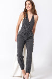Striped Halter Jumpsuit - Online Clothing Boutique