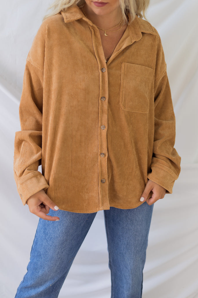 Long Sleeve Corduroy Button Front Top | Stylish & Affordable | UOI Online