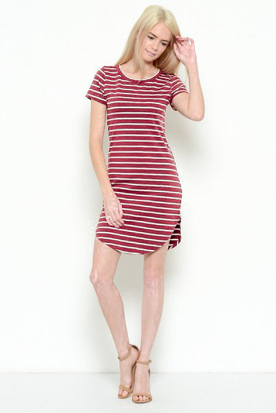 Striped T-Shirt Dress - Online Clothing Boutique