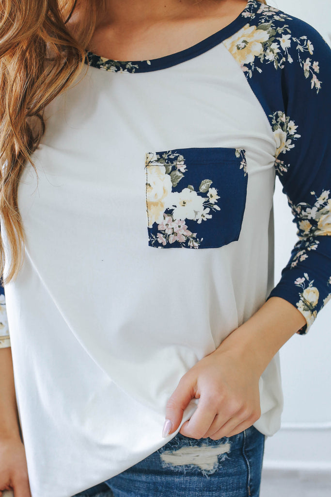 Floral Print Baseball Tee - Online Clothing Boutique