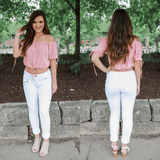 Embroidered Short Bishop Sleeve Off the Shoulder Crop Top