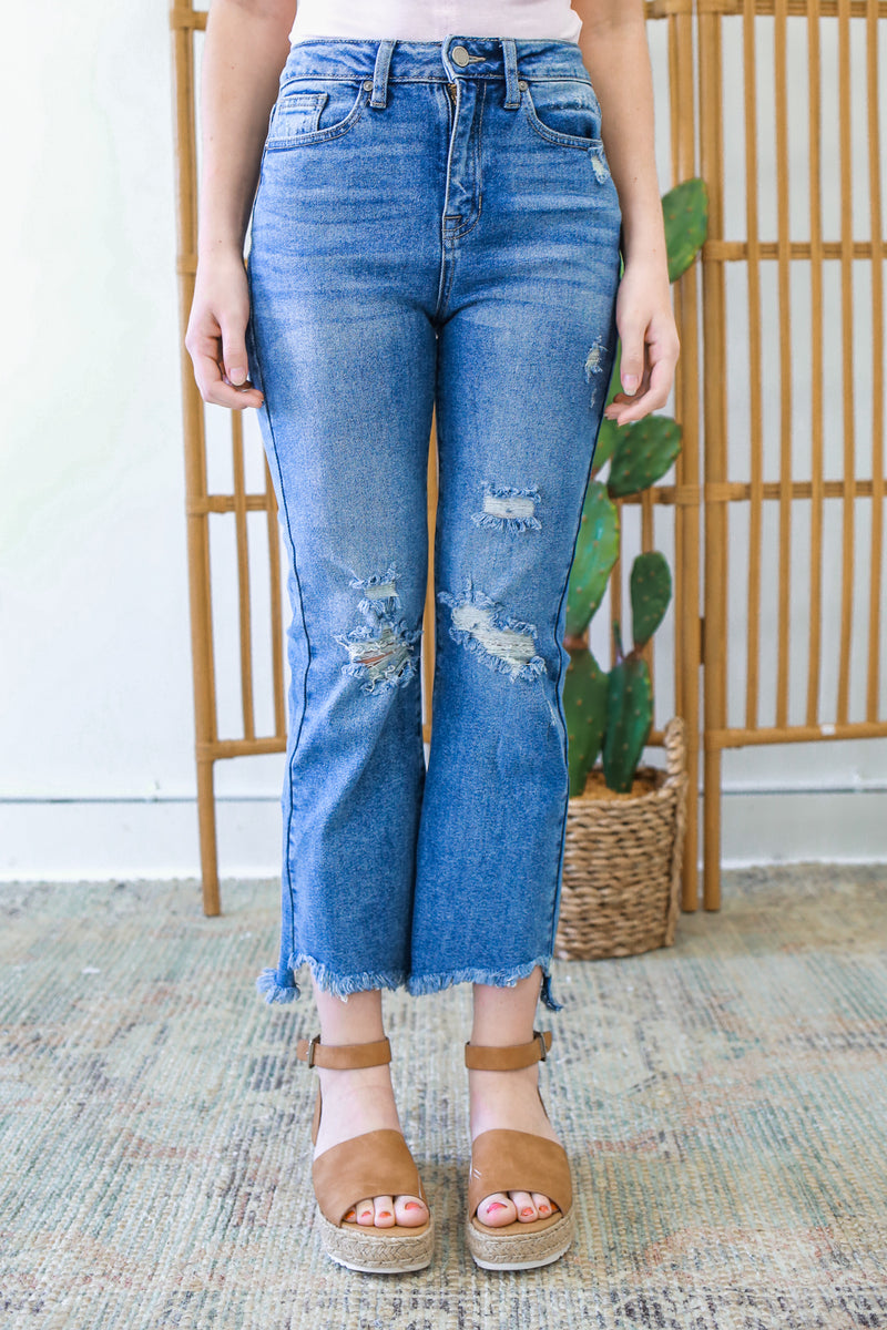 High Rise Cropped Flared Denim - Online Clothing Boutique