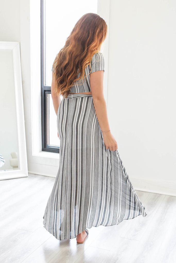Striped Two-Piece Dress - Online Clothing Boutique