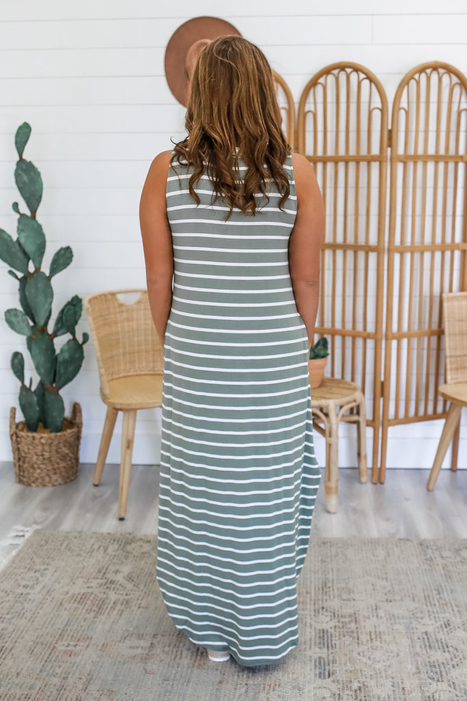 Sleeveless Striped Maxi Dress | Stylish & Affordable | UOI Online