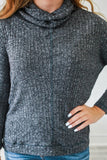 Ribbed Knit Cowl Neck Top - Online Clothing Boutique