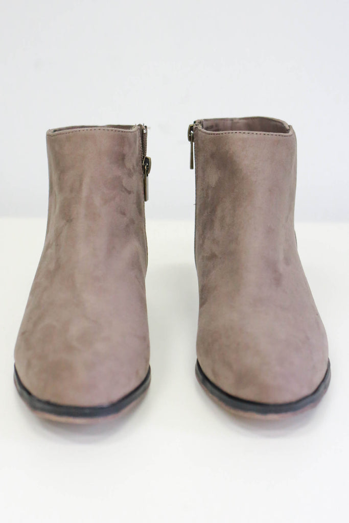 Faux Suede Ankle Booties - Online Clothing Boutique
