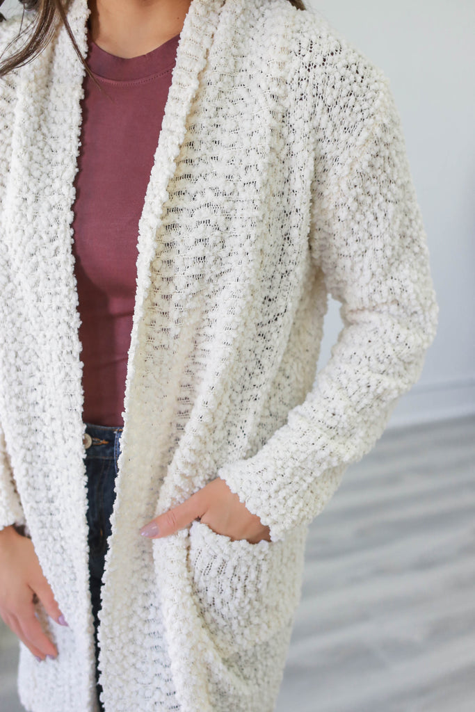 Popcorn Knit Cardigan - Online Clothing Boutique
