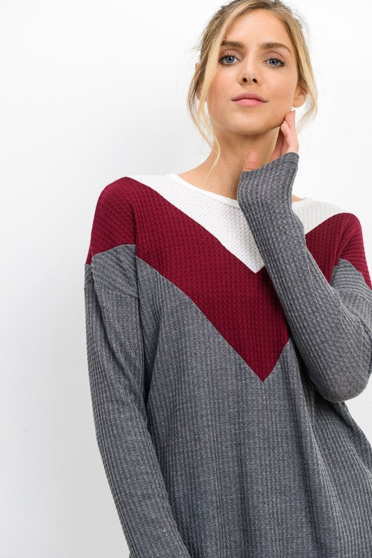 Chevron Waffle Knit Top | Stylish & Affordable | UOI Online