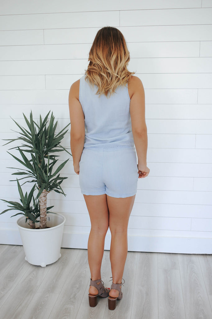 Chambray Romper - Online Clothing Boutique