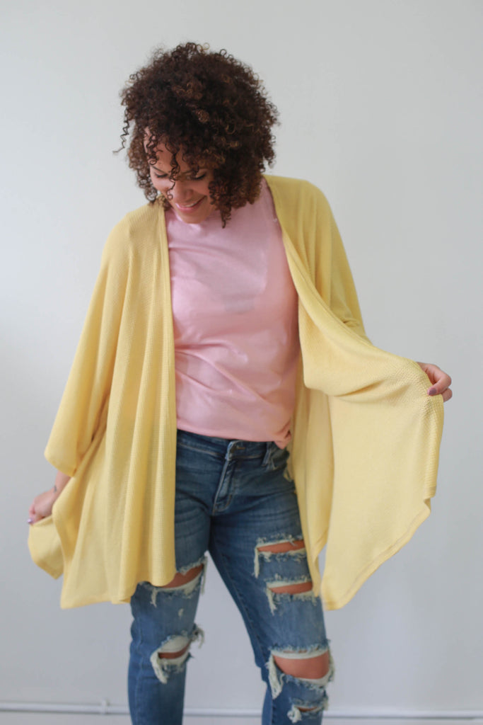 Waffle Knit Cardigan - Online Clothing Boutique