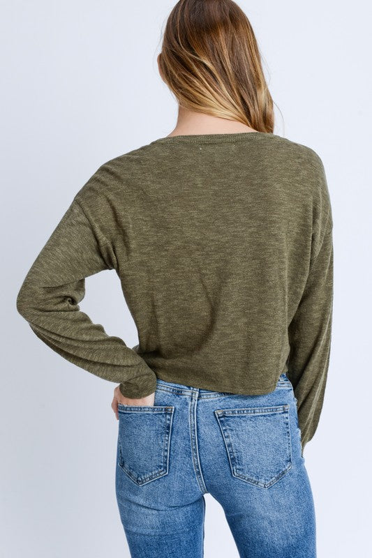 Self Tie Front Sweater - Online Clothing Boutique