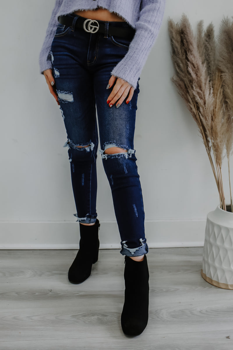 Midrise Distressed Skinny Denim | Stylish & Affordable | UOI Online