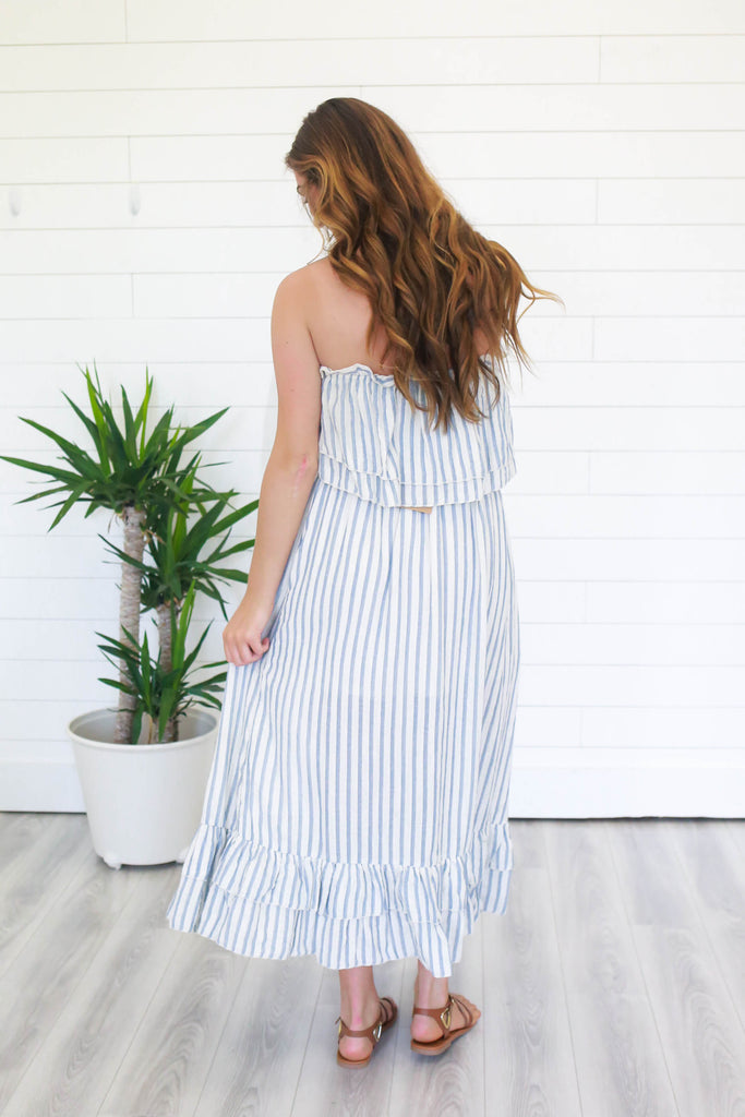 Two-Piece Striped Maxi Dress - Online Clothing Boutique