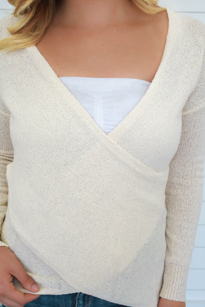 Wrap Front Sweater - Online Clothing Boutique