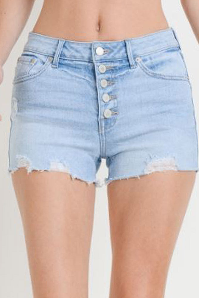 High Rise Distressed Denim Shorts - Online Clothing Boutique