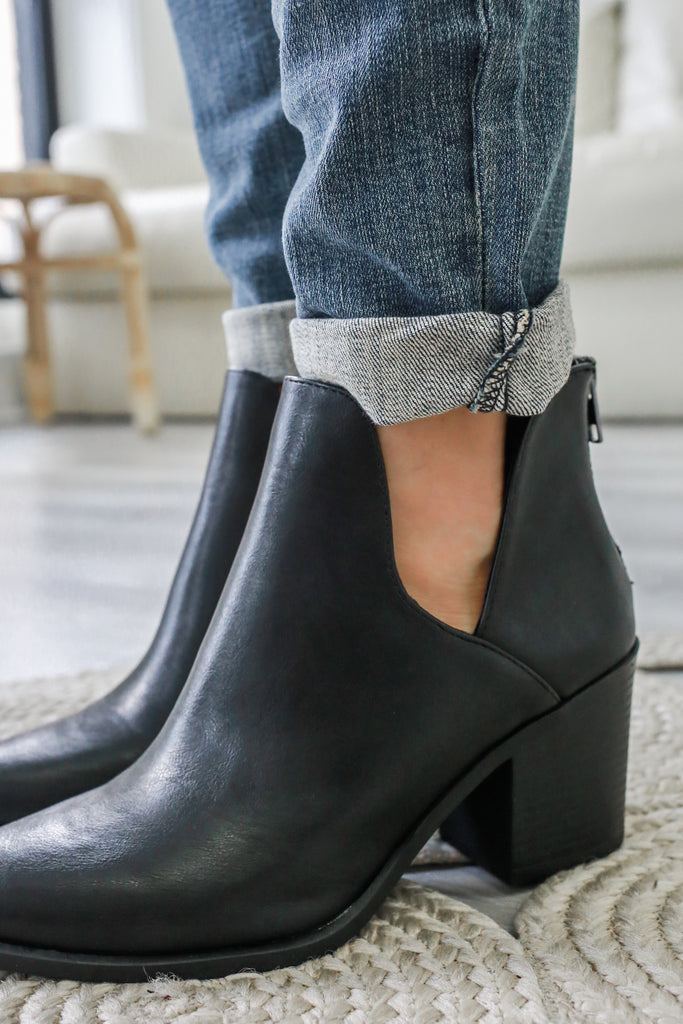 DURABLE Faux Leather Ankle Booties - Online Clothing Boutique