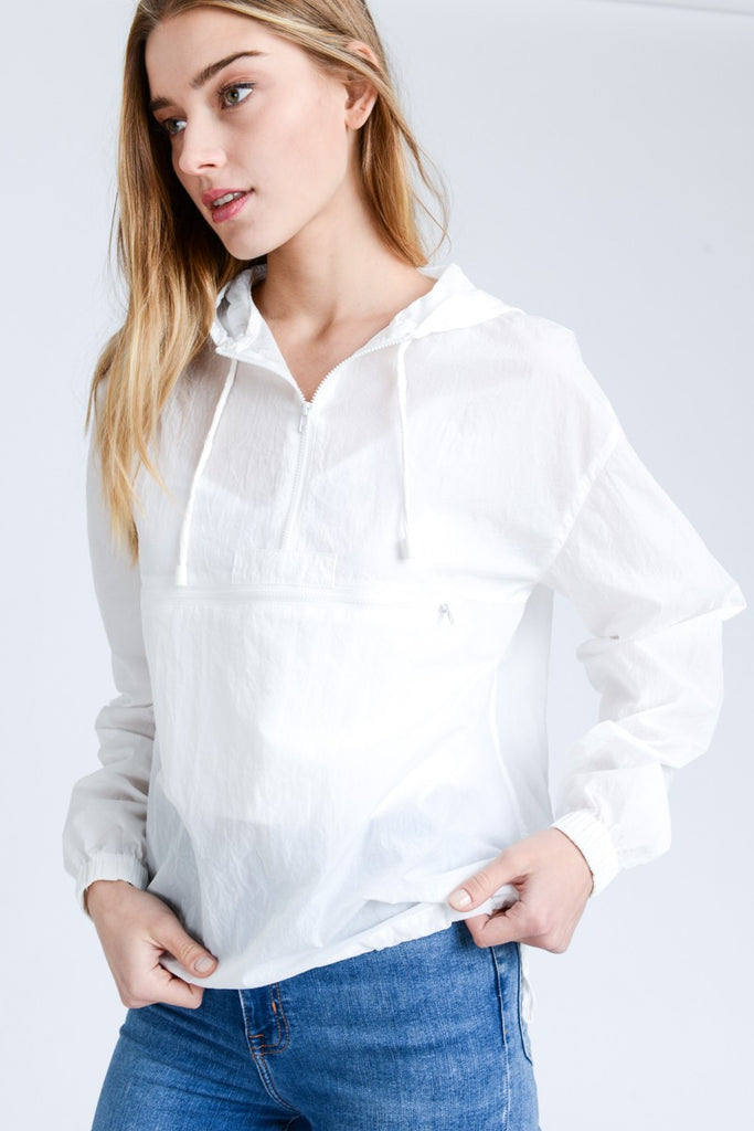 Solid White Windbreaker - Online Clothing Boutique