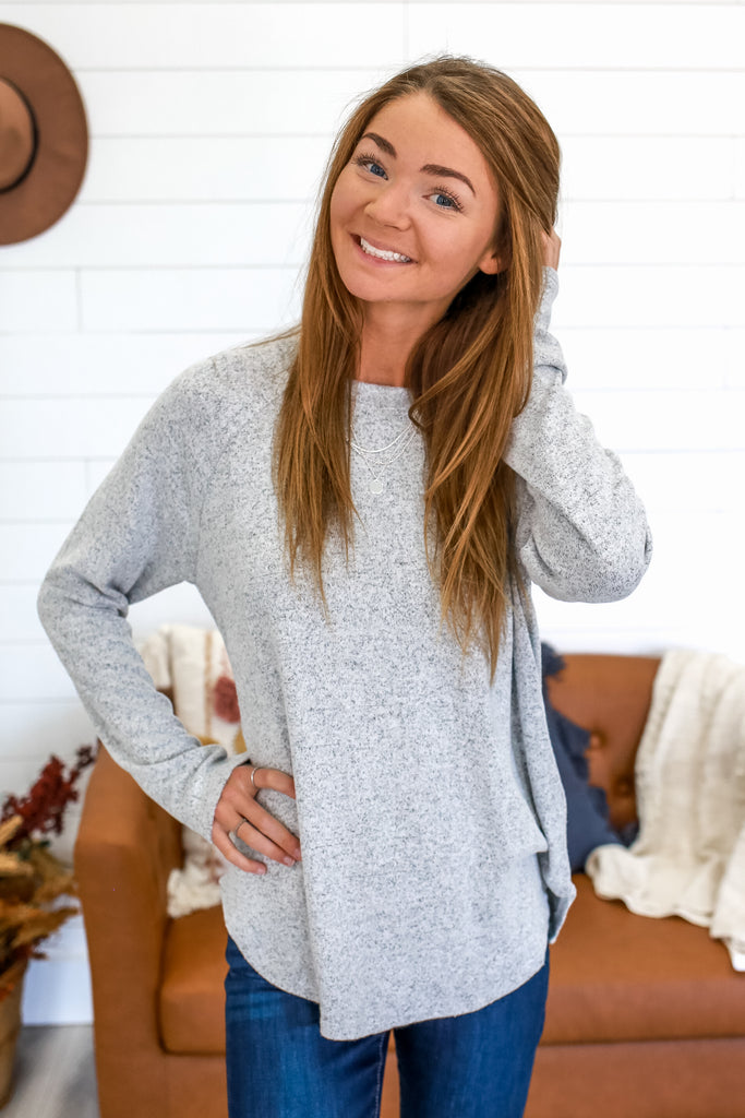 Long Sleeve Brushed Knit Top | Stylish & Affordable | UOI Online