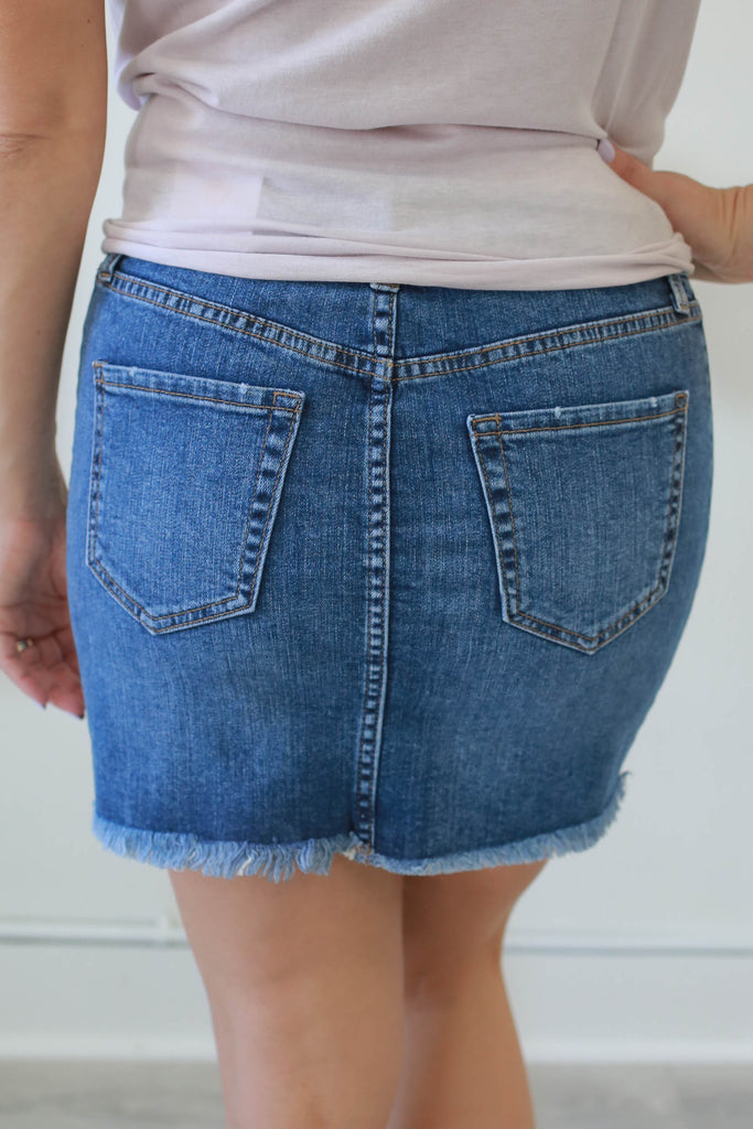 Contrasting Denim Skirt - Online Clothing Boutique