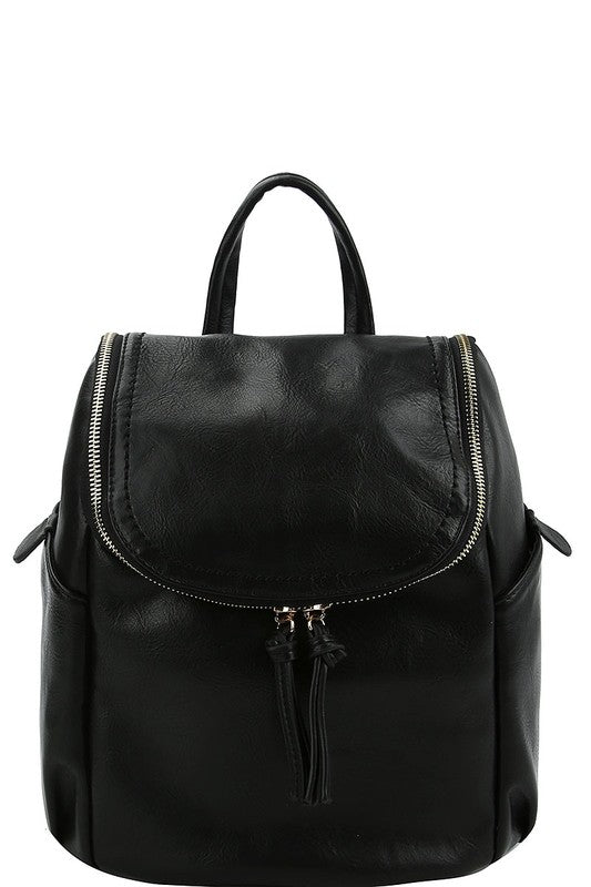 Vegan Leather Bucket Style Backpack - Online Clothing Boutique