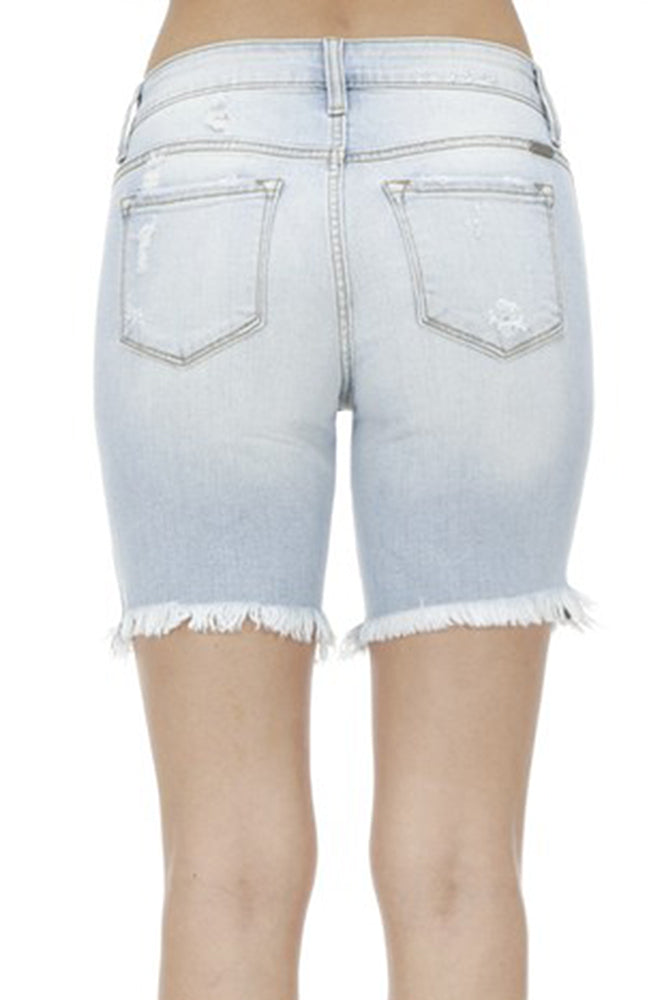 Distressed Denim Bermuda Shorts - Online Clothing Boutique