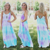 Lilac Self Tie Strappy Back Side Slits Maxi Dress