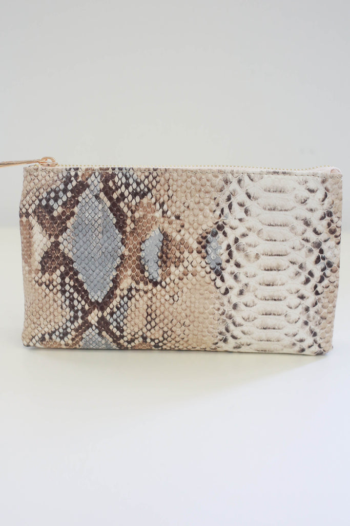 Snakeskin Clutch - Online Clothing Boutique