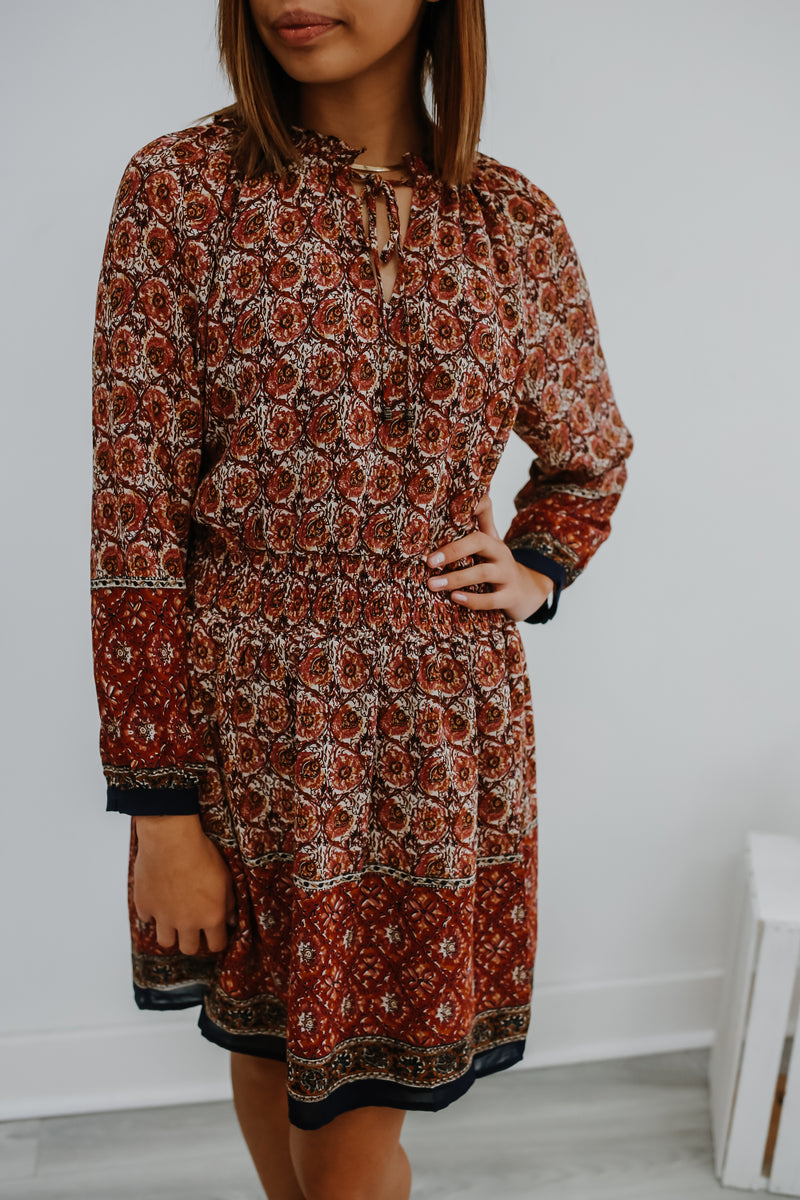 Long Sleeve Printed Dress Forum Mini  Dress | Stylish & Affordable | UOI Online