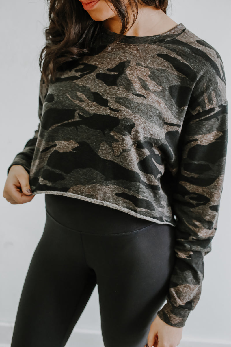 Long Sleeve Camo Print Crop Top | Stylish & Affordable | UOI Online
