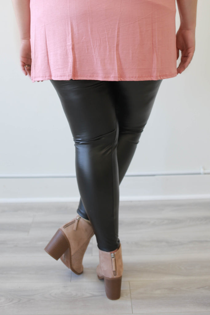Plus Size Faux Leather Leggings - Online Clothing Boutique