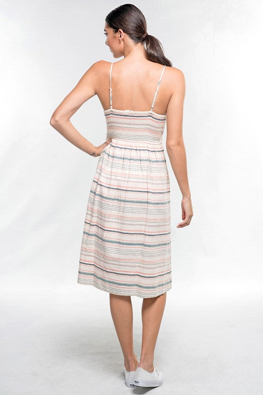 Striped Cami Strap Midi Dress - Online Clothing Boutique