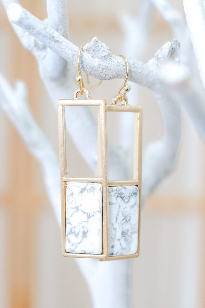 Faux Stone Rectangle Pendant Earrings | Stylish & Affordable | UOI Online
