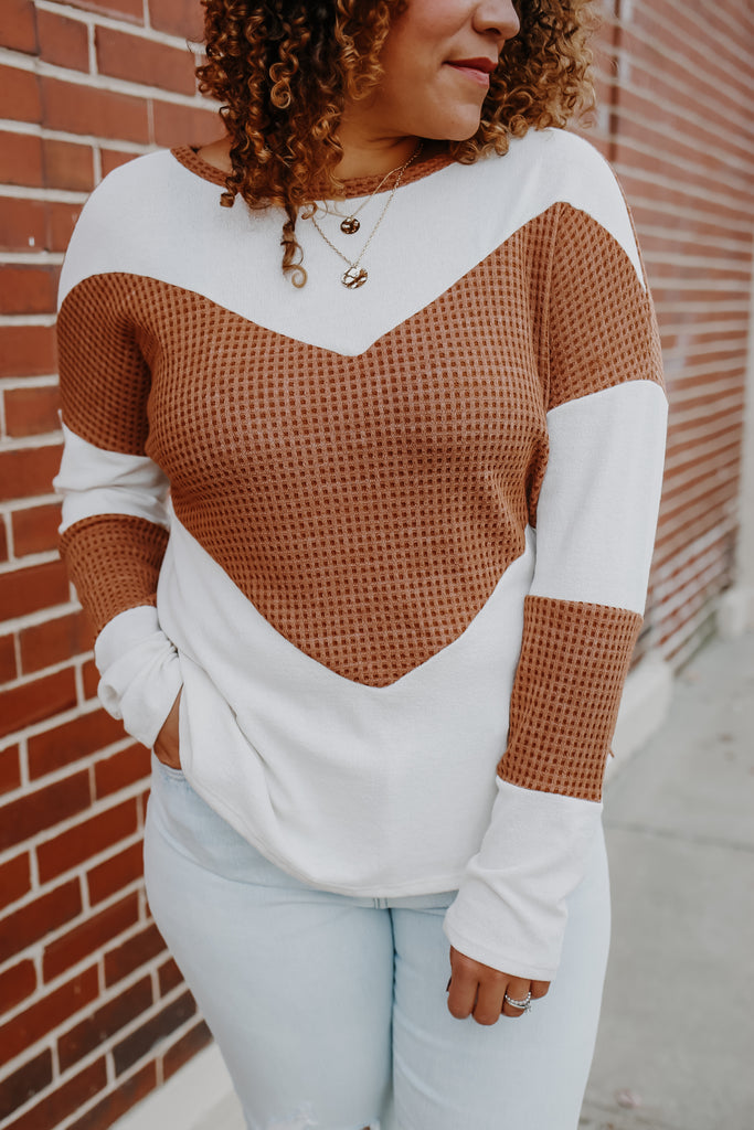 Long Sleeve Thermal Color Block Top | Stylish & Affordable | UOI Online