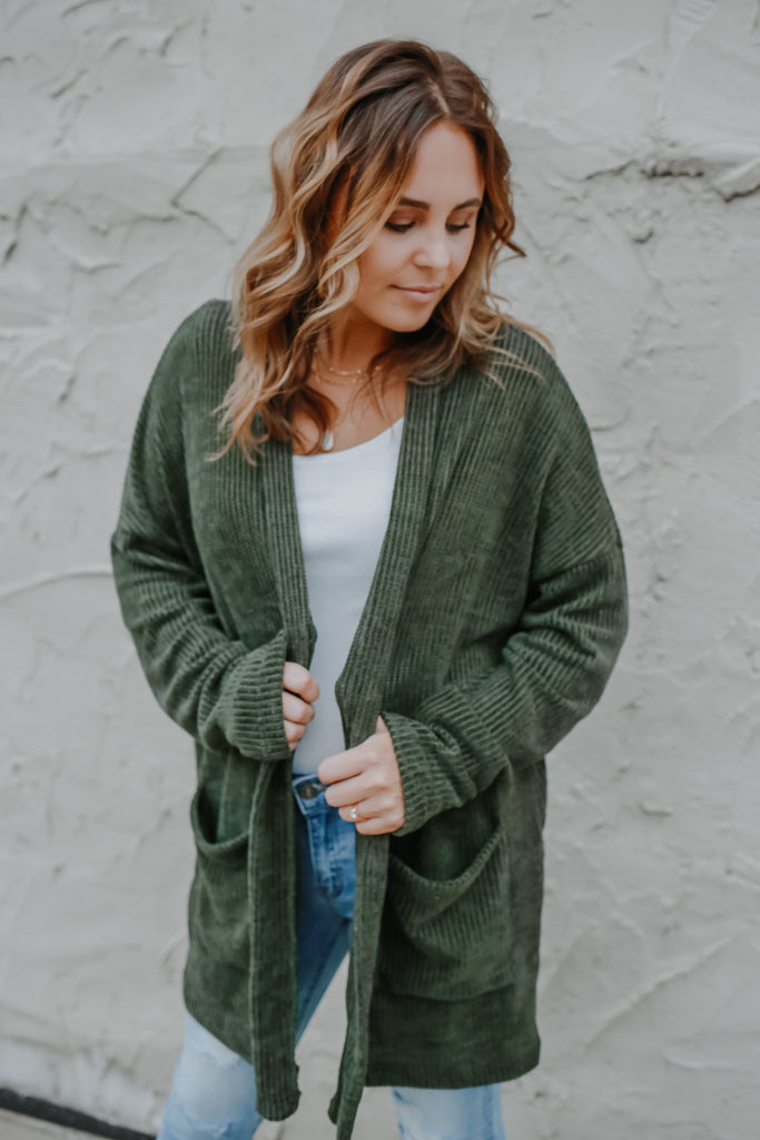 Long Sleeve Chenille Knit Cardigan | Stylish & Affordable | UOI Online