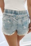 Elastic Distressed Denim Shorts - Online Clothing Boutique