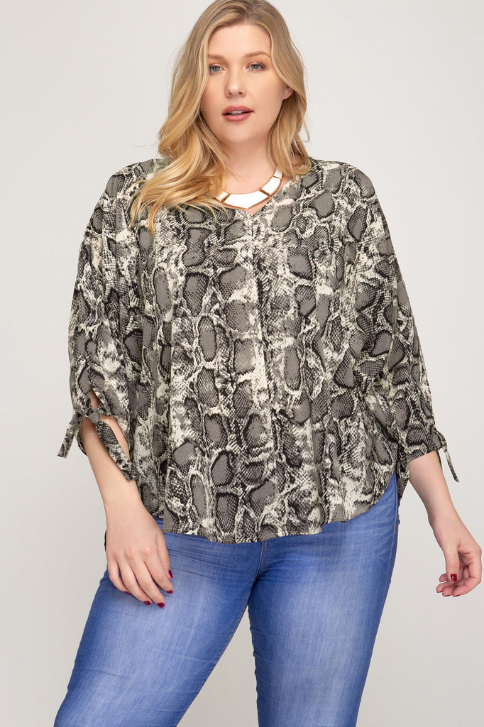 Plus Size Snakeskin Top - Online Clothing Boutique