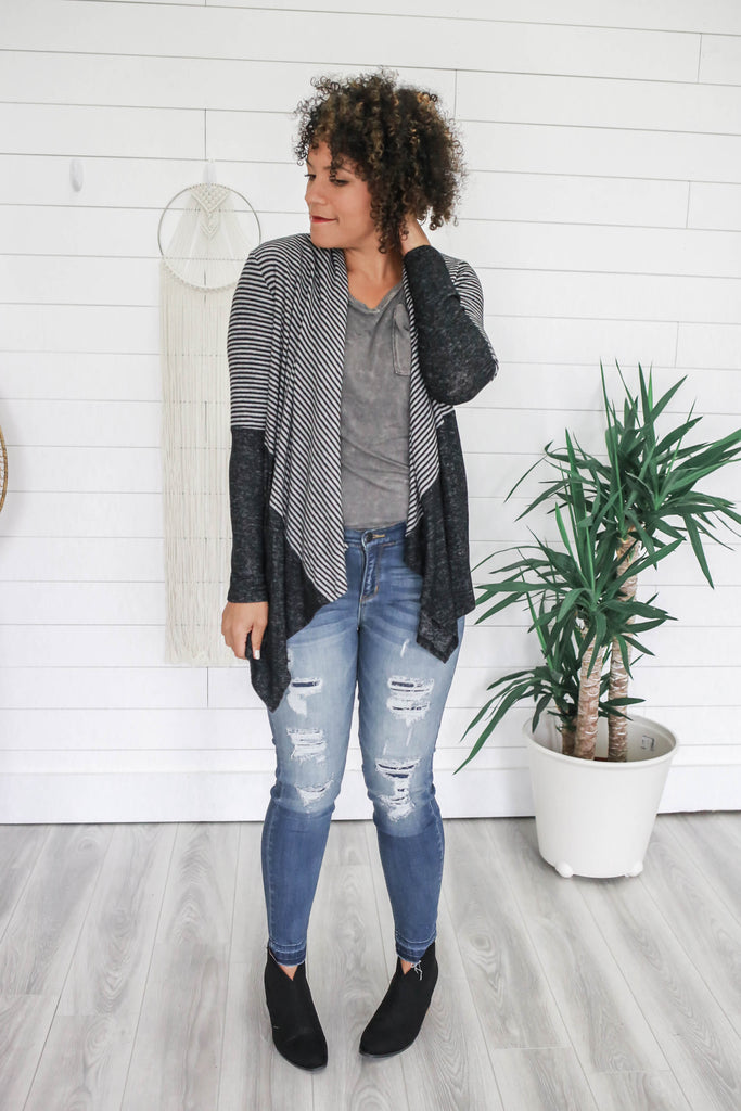 Striped Drape Front Cardigan - Online Clothing Boutique