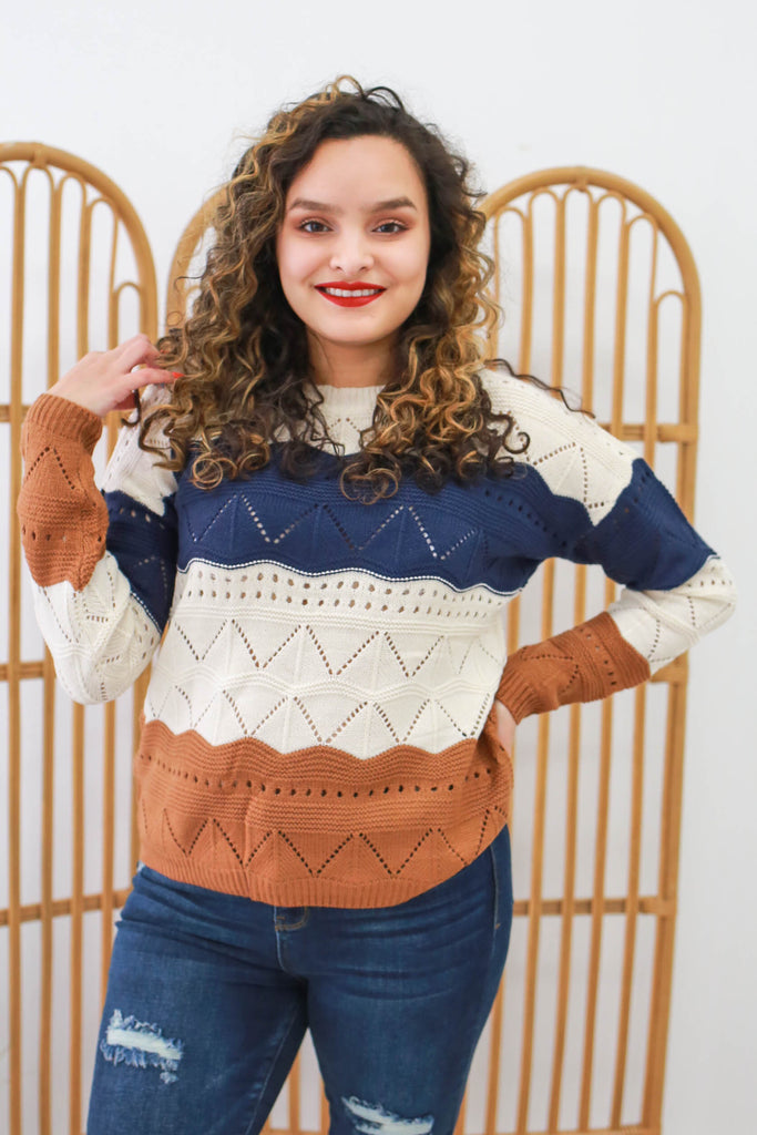 Color Block Eyelet Sweater | Stylish & Affordable | UOI Online
