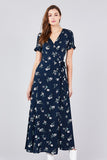 Floral Wrap Maxi Dress - Online Clothing Boutique