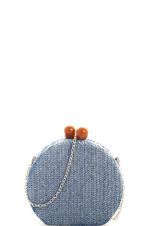 Round Woven Crossbody Bag  - Online Clothing Boutique