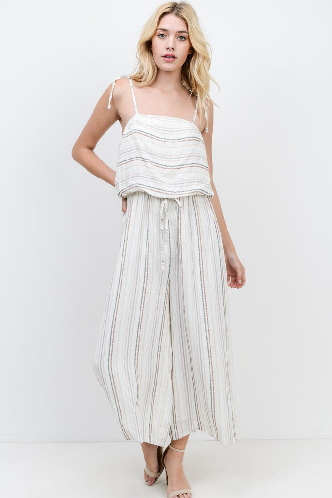Cami Strap Striped Jumpsuit - Online Clothing Boutique