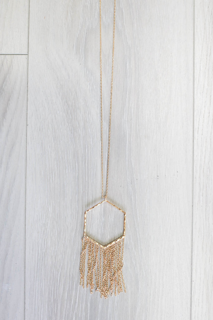 Hexagon Tassel Necklace - Online Clothing Boutique