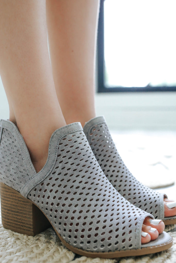 Core-27 Peep Toe Booties - Online Clothing Boutique
