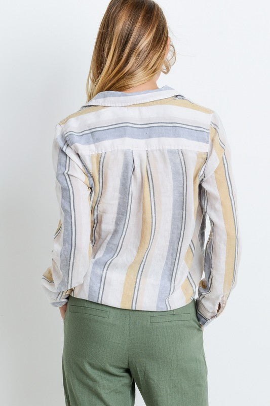 Long Sleeve Button Front Striped Top - Online Clothing Boutique